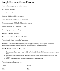 Template Lease Restaurant Lease Proposal Template