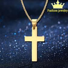 1pcs vintage cross pendant necklace 3color classic gold chain cross necklace men women cross jewelry gold