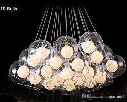 modern led pendant light 37 ball art glass chandelier for living room bar ac85 265v g4 chandeliers bulb hanging glass pendant lamp fixtures seashell