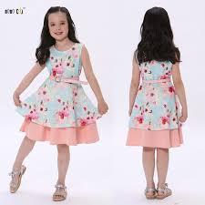 <b>Summer Dress</b> For <b>Kids Girls</b> Sleeveless Princess Floral Printed ...