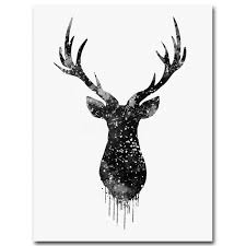 deer head animal minimalist canvas print poster watercolor