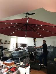 formidable bay ft led offset solar umbrella in henna home rden in hampton bay 11 ft