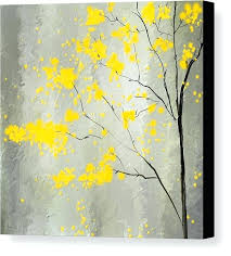 yellow and grey pictures yellow and gray canvas print featuring the painting yellow foliage impressionist by