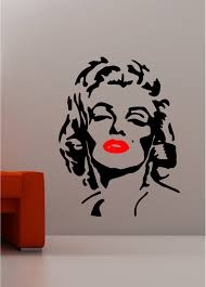 marilyn monroe with red lips pop art kitchen lounge bedroom wall art sticker vinyl decal on marilyn monroe wall art quotes with marilyn monroe pop art wall art quote sticker vinyl kitchen lounge