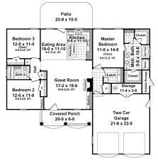 Ranch House Plan 94182  Total Living Area 1720 Sq Ft 3 Plan Of Living Room