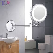 Wall Mirror With Lights Us 33 54 45 Off Led Makeup Mirror With Light Folding Wall Vanity Mirror 1x 10x Magnifying Double Sided Touch Bright Adjustable Bathroom Mirrors In