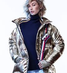 high shine one icon meets another hailey baldwin rocks the metallic puffer