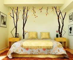 Schlafzimmer Ideen Wandgestaltung Wandmalerei Hellgelbe Wandfarbe