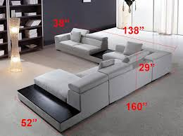 Modern Sectional sofa Grey Microfiber VG Fort 16 Fabric Sectional