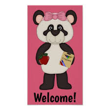 pink welcome pink welcome school girl panda poster girly gift gifts ideas cyo