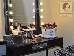 image of diy makeup vanity table with lights