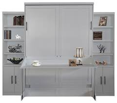 andrew queen size murphy desk bed with 2 door bookcases pearl white contemporary
