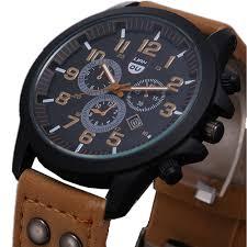 business quartz watch men sport military watches men corium business quartz watch men sport military watches men corium leather strap army wristwatch clock hours complete