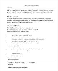 Examples Of Bartending Resumes Resume Skills Bartender Resume