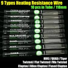 Fused Clapton Ohm Chart Heating Resistance Wires Alien Fused Clapton Flat Mix Twisted Hive Quad Tiger 9 Types Pre Built In Tube 18mm Vapor Mods Rda Coils Loose Wire