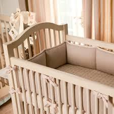 light pink linen baby crib bedding