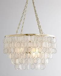 luxury capiz shell chandelier with round iron holder for home lighting ideas
