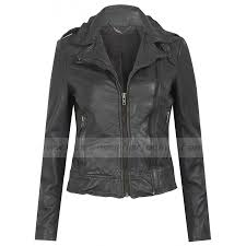 biker grey leather jacket womens