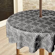 lamberia heavyweight wrinkle free stain resistant waterproof tablecloth with zipper and umbrella hole 60 inch