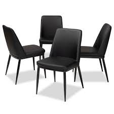 darcell black faux leather upholstered dining chair set of 4
