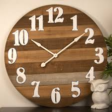 91 5cm timber w white numbers wall clock