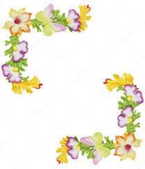 Paper With Flower Border Flower Paper Border Paper Flower Border Stock Photo