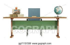 teacher desk clipart. Interesting Teacher Retro Teacheru0027s Desk On White For Teacher Desk Clipart
