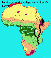 Map showing the congo rainforest. Forests African World Heritage Sites
