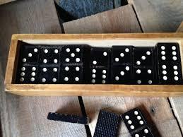 black wooden dominoes 1950 s wooden box
