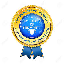 Employee Of The Month Award Employee Of The Month Elegant Golden Blue Award Ribbon