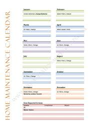 Household Maintenance List Calendar Organize Professionally