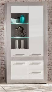 Vitrinenschrank Pure Hochglanz Weiß Mit Beton Stone Design Vitrine Inkl Beleuchtung 100 X 201 Cm