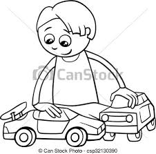 toy car clipart black and white. Modren Clipart Boy And Toy Cars Coloring Book  Csp32130390 And Toy Car Clipart Black White