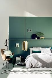 green accent wall echoes with accessories of emerald color