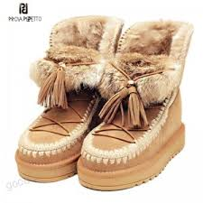 <b>Prova Perfetto</b> Fashion Tassels Ntural <b>Fur</b> Snow Boots Real Cow ...