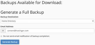 generate full account backup