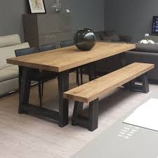 beautiful bench seat dining table zeus wood metal dining table scott doesnt like the bench seat