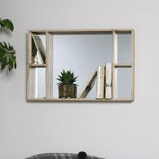 natural wood mirrored back shelving unit display shelves living room shelf home