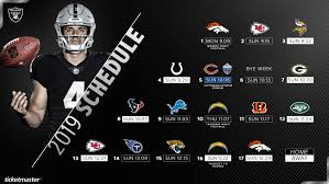 Oakland Raiders Seating Chart 2019 Raiders Announce Dates And Times For 2019 Regular Season
