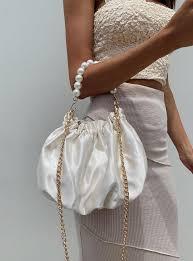 Quinn Satin Bag White