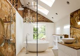 view in gallery exposed brick walls in the bathroom
