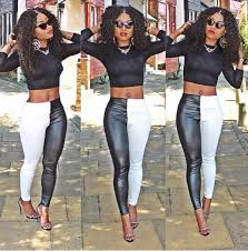 monochrome black and white leggings faux leather leggings faux leather tights black and white