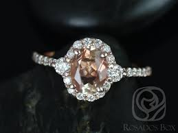 rosados box bridgette 8x6mm 14kt rose gold oval oregon sunstone and diamonds halo enement ring love promise jewelers