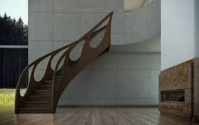 design railing in wood and glass