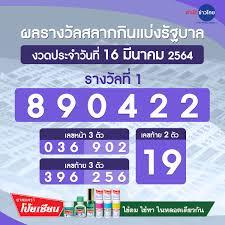 ผลรางวัลสลากกินแบ่งรัฐบาล งวดวันที่ 16 มีนาคม 2564 - สำนักข่าวไทย อสมท