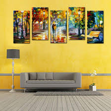 5 panel lover rain street tree lamp landscape oil painting on canvas wall art wall pictures for living room home decor no frame  on 5 panel wall art uk with shop painting street lamps uk painting street lamps free delivery