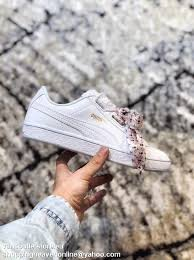 2018 puma basket bow women sneakers white patent leather