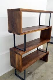 modern wood and metal furniture. Interesting Metal Modern Walnut Wood And Steel Ribbon Bookshelf Intended Furniture L . E