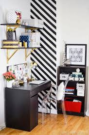 furniture for small office. Small Home Office With Striped Accent Wall Design And Compact Furniture For Storage N