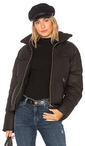 washed leather puffer with rabbit fur june